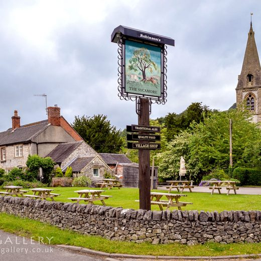 Sycamore, Parwich: Pub with inn sign and church tower