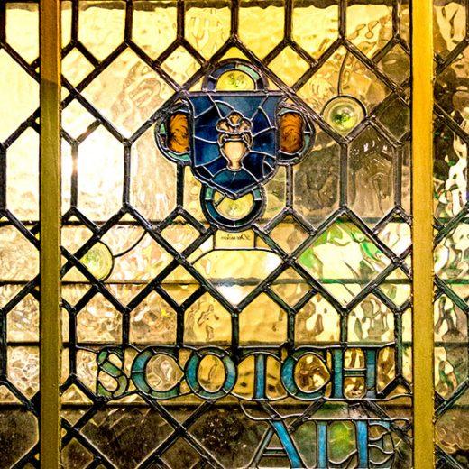 Tudor Rose, Marylebone: 'Scotch Ale' leaded glass window
