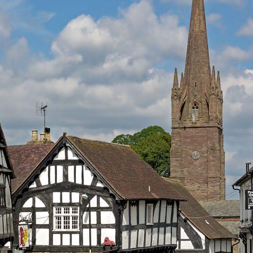 Red Lion, Weobley: Pub & church tower
