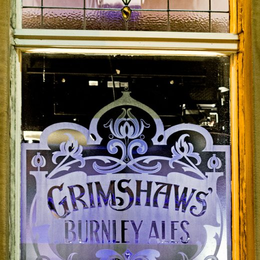 Commercial, Colne: 'Grimshaws' etched window (photo 1)