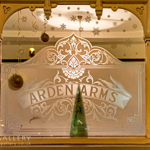 Arden Arms, Stockport: 'Arden Arms' etched window