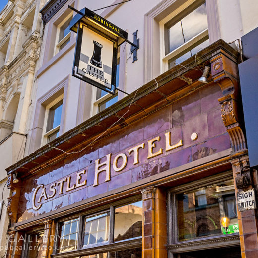 Castle, Manchester: Close-up of tiled 'Castle Hotel' and inn sign
