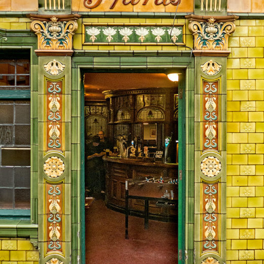 Peveril of the Peak, Manchester: Close-up of doorway with 'Spirits' sign