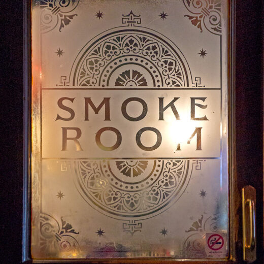 Blue Bell, York: 'Smoke Room' etched window