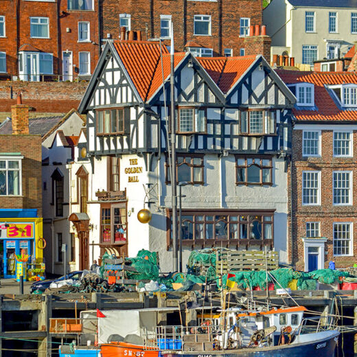 Golden Ball, Scarborough: Pub exterior with boats & harbour