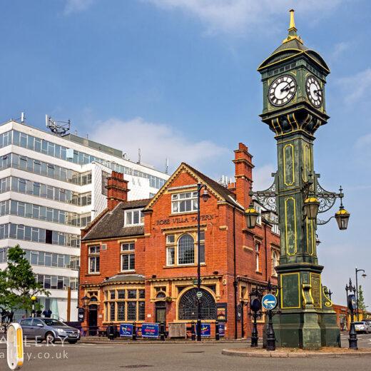 Rose Villa, Birmingham: Pub and clock tower